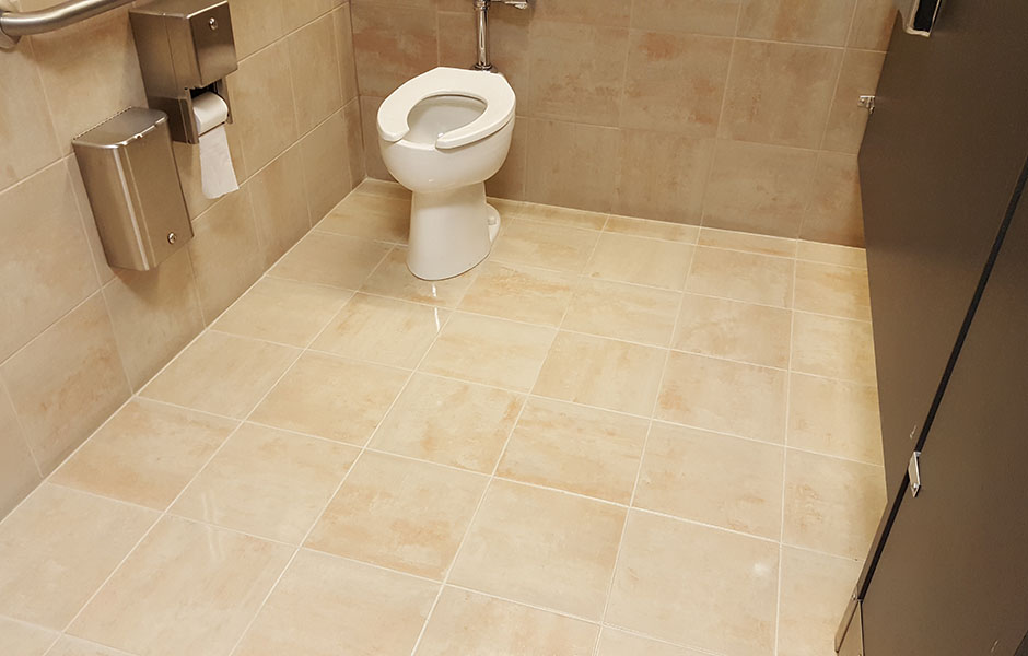 Clean and sealed bathroom floor.