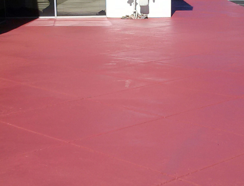 Red Stained Concrete Walkway After
