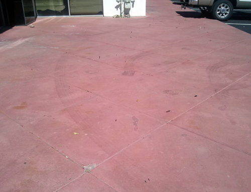 Red Stained Concrete Walkway Before