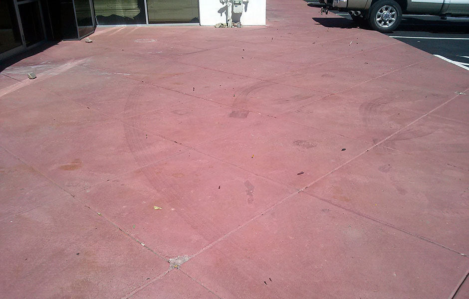 Dull, faded concrete stain
